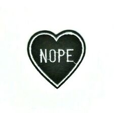 Small Black Nope Heart Embroidered Iron On Sew On Applique Patch