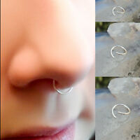Thin Surgical Steel Nose Ring Hoop Lip Ear Eyebrow Cartilage Body Piercing Gift