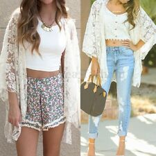 Women Boho Sheer Beach Tops Coat Lace Crochet Flaoral Kimono Cardigan Cover Up