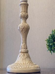 FABULOUS FRENCH VINTAGE STYLE SHABBY CHIC CREAM CERAMIC COLUMN STYLE TABLE LAMP