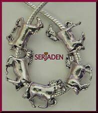 5 Antique Silver Horse Charms Fits European Jewelry 15 x 21 mm & 5 mm hole S083