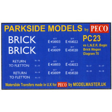 Modelmaster MMPC23 Transfers for ex L.N.E.R. Bogie Brick Wagon