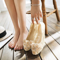 Women Slip On Lace Flower Round Toe Pumps Soft Loafers Wedding Comfy Shoes Size