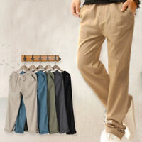 Men Summer Linen Cotton Casual Pants Solid Fitness Sweatpants Straight Trousers