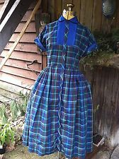 Vintage 1940's Sweet cotton Stewart Plaid DRESS 36-26-60 tag is BETTY BARCLAY