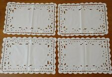 New listing 4 White Cotton Vintage Style Placemats Doilies Hamptons Styling New 49 x 33cm