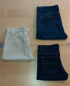 3x Jeans Hosen Herren W 34 L 32 Identic Denim Blau Dunkelblau Beige Baumwolle