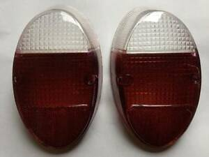 VW BUG Left Right Rear Tail Light LENSES PAIR Crystal White Red BEETLE 62-67 2pc