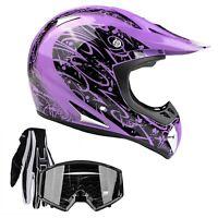 Adult Purple Motocross Helmet Combo Black Gloves Goggles DOT ATV UTV MX Off-Road