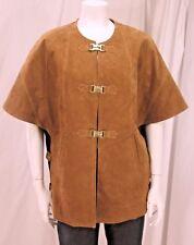 Soft Surroundings sz M British Tan Suede Jacket Vest Topper w/ Gold Hardware