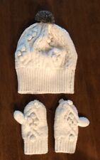 GAP Baby Toddler Boy Girl Ivory Cable Knit Hat Mittens Set Wool Blend 12-18 Mo