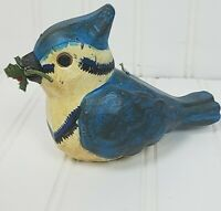 """Vintage Russ Berrie The Woodlands Collection Bluebird Candle 6"""" With Holly &..."""
