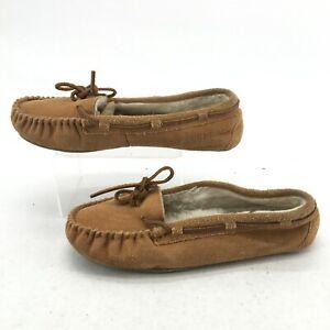 Minnetonka Womens 10 Britt Trapper Moccasin Slippers Shoe Brown Leather Faux Fur
