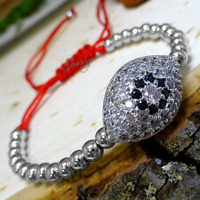 Silver Crystal Protective Eye Beaded Red String Bracelet