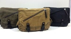 Strong Woven Fully Lined Canvas Messenger Man Bag with Adjustable Shoulder Strap