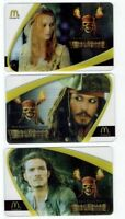 McDonalds Gift Cards PIRATES of the Caribbean Johnny Depp - No Value - LOT of 3