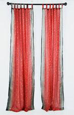 "RED & BLACK Sari curtain, semi sheer panel, Indian, handmade, blockprint 96"""