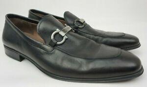 Salvatore Ferragamo Borges Apron Toe Bit Men's Black Loafer Shoes Size 8.5 E ...