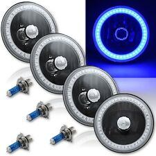 """5-3/4"""" SMD Blue LED Halo Angel Eye Black Halogen Crystal Clear Headlamp Set of 4"""