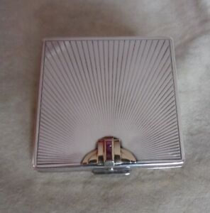 Black Starr & Gorham Sterling Silver and 14K Gold Compact w/ Rubies