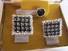 Vintage Black Glass Silvertone Cufflinks & Tie Clip