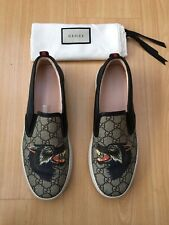 GUCCI MENS SHOES CANVAS SNEAKERS TRAINERS WOLF SUPREME UK 8.5 42.5 MONOGRAMMED