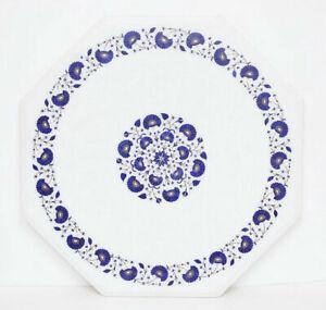"30"" Marble Coffee Table Top Semi Precious Stones inlay Handmade work"