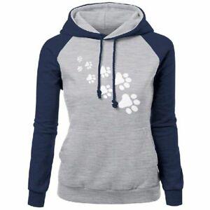 Winter Fleece Hooded Jacket Sweatshirt Womens Cat Paws Print Hoodie Top Pullover