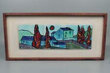 Vintage Modernist Pottery Tile Panel likely Harris Strong - Teak Frame 2d