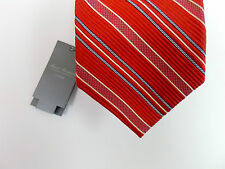 Daniel Cremieux Signature 7 Seven Fold Silk Necktie Tie Red Blue Striped 120 NWT