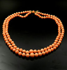 Korallen Collier 2-reihig lachsfarben Korallenkette L: 43 cm Coral Necklace