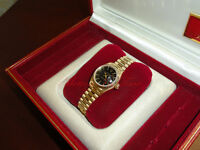 Rolex President 18kt Yellow Gold Datejust Ladies' Black Stick Tuxedo Dial W/ B&P
