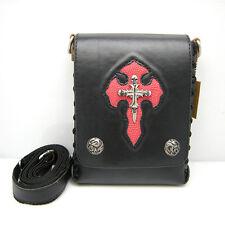 Leather Black and red Unisex Biker/Skull/Gothic Waist bag-shoulder bag-handbag