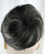 off black very dark brown fake pony tail bun elastic string hair piece scrunchie