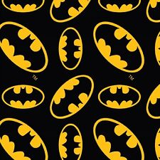 Batman Logo Black and Yellow Cotton Fabric, per 50cm