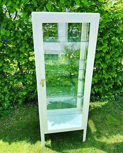 Vitrinenschrank Vintage Arztschrank Retro Vitrine Glas Weiß Metallvitrine Arzt