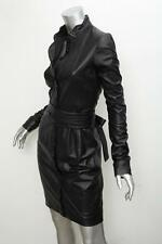 L'WREN SCOTT Black TUXEDO TERRACE Leather Belted Long-Sleeve Shirt Dress 44/8