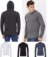 Mens Long Sleeve Jersey Hooded T-Shirt Tee Top - Crossover V Neckline - Fitted