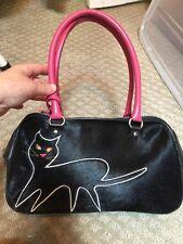 Nicole Miller Adorable Black Cat Hand Bag Euc Embellished Halloween