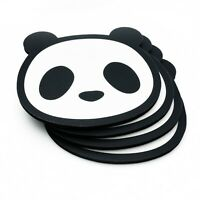 Set of 4 Black Panda Coasters Cute Novelty Animals Foam and Silicon