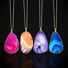Magic Agate Druzy Emperor Quartz stone Natural Gold Pendant Necklace JewelryRDUJ