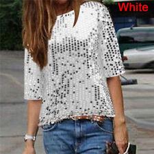 Fashion Women's Loose off Shoulder Sequin Glitter Blouses Casual Shirt Party 3c L Blue