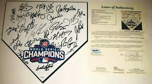 2016 CHICAGO CUBS WORLD SERIES CHAMPIONS SIGNED AUTOGRAPH HOME PLATE JSA LOA 27+
