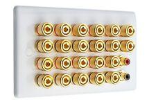 Slimline White 11.2 Speaker Wall Plate Gold 22 Binding Posts + 2 RCA'S