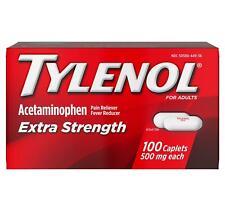 Tylenol Acetaminophen Extra Strength Pain Fever Reliever 100 Caplets Exp 8/24