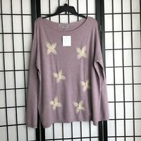 New Liquid by Sioni Pullover Sweater Embellished Style Flower Pearl Size Large