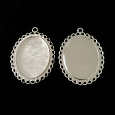 4 x Shiny Silver 30x40mm Oval Pendant Tray Blanks Cabochon Cameo Base Settings