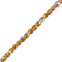 "6mm Czech Fire Polished Beads Crystal Orange Rainbow 6"" Strand 25 Piece (G106/3)"
