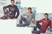 Herren Pyjama Schlafanzug lang NEU blau grau rot mit Print Gr. S M L XL XXL