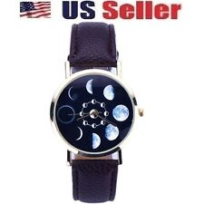 NEW BROWN FASHION JEWELRY CASUAL LEATHER LUNAR ECLIPSE ANALOG QUARTZ WOMEN WATCH